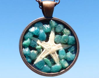 Mini Starfish Asteroidea Positive Energy Pendant with Amazonite and Copper Mandala Bezel. Frequency Charged.