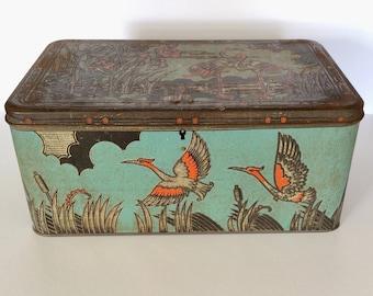 Antique 1920s ART NOUVEAU Tin Art Deco Flamingo Crane Oriental Asian Japanese Style Tin