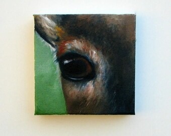 ON SALE Original oil on canvas, wildlife painting, deer, fawn, wall art, home decor - Eye See You series five