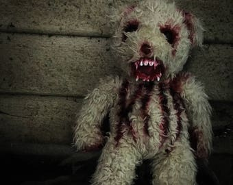 Handmade crazy teddy bear doll horror zombie ooak