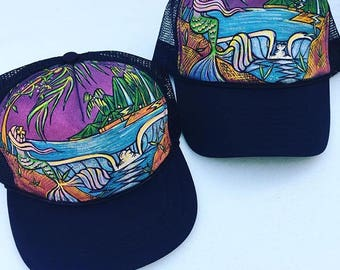 Mother & Daughter Matching Mermaid Trucker Hat Hand Painted by Roupolimama