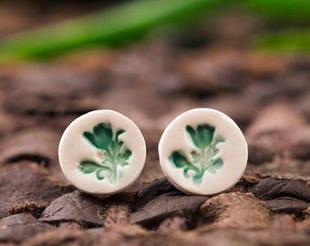 Porcelain stud earrings