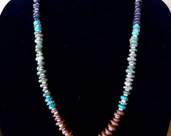 30 Inch Southwestern Four Color Freeform Gemstone Rondelle and Heishi Necklace with Earrings