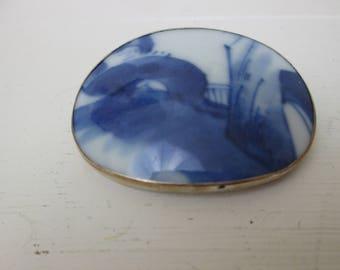 Delftware Porcelain Brooch~Silver~Vintage Brooch~Blue and White~Delft tile~