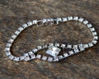 Vintage Rhinestone Bracelet Clear Round Stones Square Cut Center Sparkly Wedding Bridal Prom 1960's // Vintage Costume Jewelry