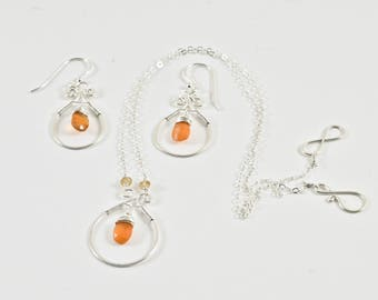 Carnelian Necklace and Earring Set- Silver Necklace and Earring Set- Carnelian Jewelry- Necklace Earring Set- Gemstone Jewelry- C