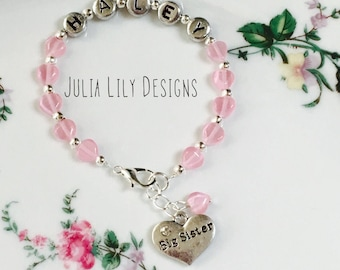 Personalized, Name Bracelet for Girls, with Charms for Big Sister, Middle, or Little Sisters, Girls, Siblings, Gift Boxed