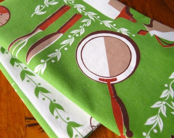 Vintage Linen Dish Towel Bright Green Greenery Brown Kitchen Pots Pans Kitchen Unused