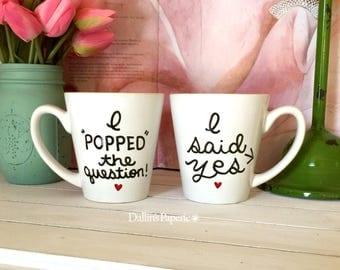 Engagement Gift Mug, Personalized mug, Hand painted, I said Yes mug, Bridal shower gift, Coffee mug, latte mug, I popped the question mug