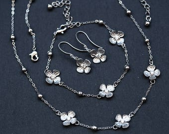 675 Gift for her, Silver flowers set, Floral jewellery gift, Jewellery set gift for her, CZ jewellery, Crystals jewellery set, Set for gift