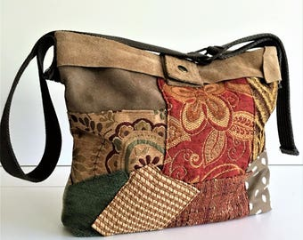 Book Bag, Gift for Her, Crossbody Bags, Book Tote, Fabric Bags, Large Bag, Handmade Bags, Upcycled Purse, Book Purse,  Messenger Bag, Purse