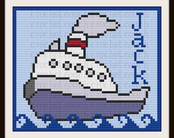 Boat Kids Afghan, Personalized,  C2C Graph & Written Word Chart