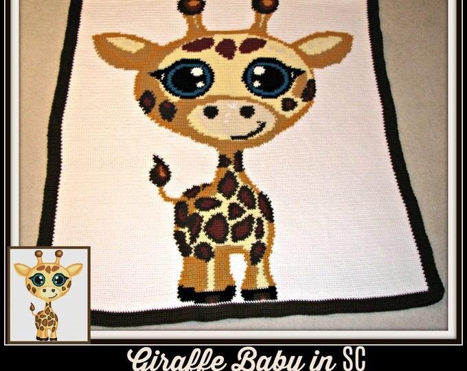 Featured listing image: Giraffe Baby SC Graph, Word Chart, Giraffe Baby Afghan