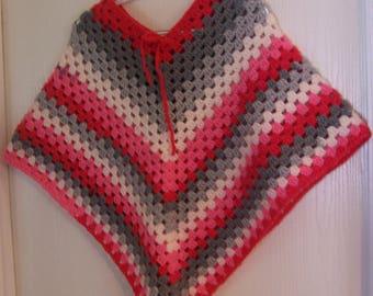 Poncho, Girl's Poncho, Crochet Poncho, Girl's Crochet Poncho