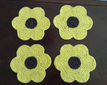 Sunflower Crochet Dishcloths - Set of 4 (READY TO SHIP!)