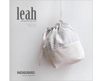 Sac à tricot, Pochon, sac à coulisse, sac à projet, patron de couture, patron PDF, tuto de couture, Leah Drawstring Bag