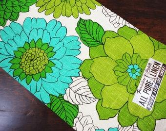 Parisian Prints Linen Kitchen Towel  NOS Dahlia Flowers Shades of Green  Original Tag