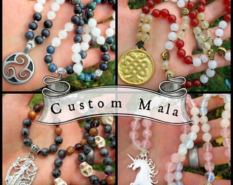 Custom Mala - 108 Bead Mala Prayer Beads / Bespoke Beaded Necklace