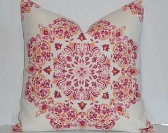 Kravet Decorative Pillow Cover - Floral Suzani - Pink Orange Ivory - Accent Pillow - Sofa Pillow - Linen
