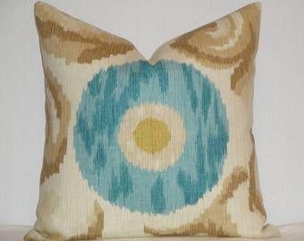 Kravet Decorative Pillow Cover - Suzani in Aqua Turquoise Tan Beige - Accent Pillow - Sofa Pillow - Linen 16 x 16