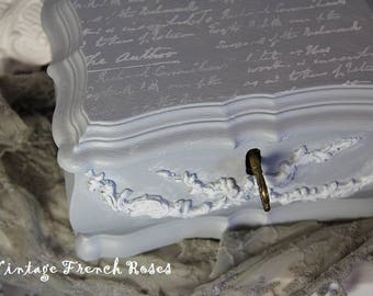 French Jewelry Bombe Style Chest Paris Grey White Appliques Script Design Vintage Jewelry Box Restyled Romantic Shabby Cottage Farmhouse