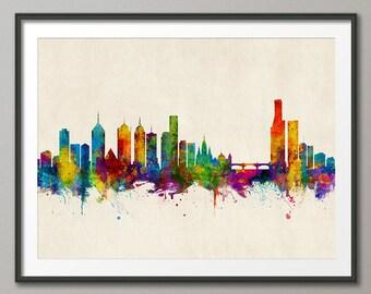 Melbourne Skyline, Melbourne Australia Cityscape Art Print (3049)
