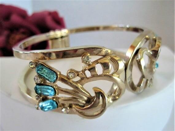 Aqua Rhinestone Bracelet - Blue Hinged Bangle - Signed Pat Pend.  Gold Tone