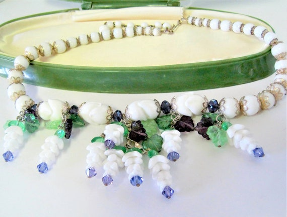 Milk Glass Bead Necklace - Crystals Dangling  - Grapes and Leaves