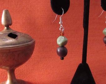 Teal and brown bead earrings