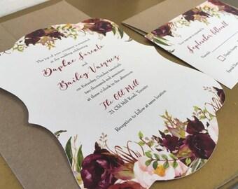 Burgundy Scalloped Fall Flowers Wedding Invitation Suite