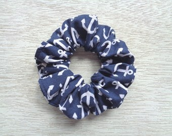 Nautical Scrunchie, Anchor Scrunchie, Blue Scrunchie, Hair Scrunchie, Hair Accessory, Hair Tie, Hair Elastic, Woman Accessory, Gift For Her