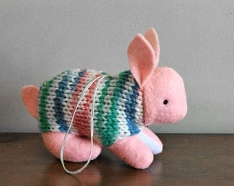 Pastel Rabbit Ornament - eco-friendly knitted ornament, plush miniature, stuffed animal, Easter