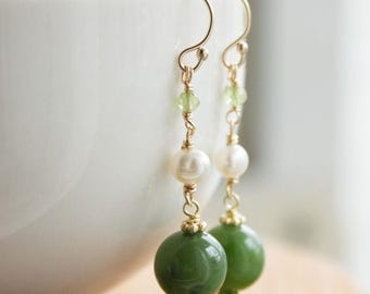 ON SALE Green Nephrite Jade - White freshwater pearl - Peridot- 14kt gold fill Earrings