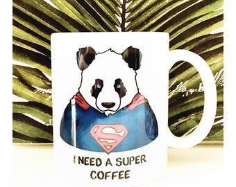 Mug panda super hero fête des pères