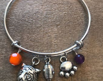Clemson Tigers inspired Adjustable Bangle Bracelet