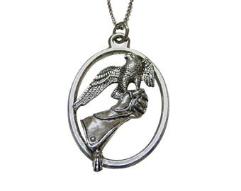 Falcon Bird and Glove Large Oval Pendant Necklace