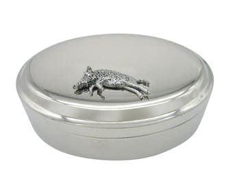 Running Razerback Wild Boar Pendant Oval Trinket Jewelry Box