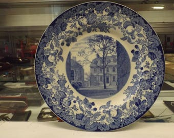 Blue Wedgewood China - 1927 Harvard University Collector Dinner Plate - Mower Hall - Made in England