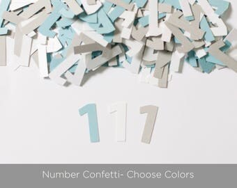Custom Number Confetti, 1st Birthday, Modern Party Decor