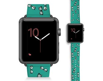 Geek Eyeglasses- Teal Green- Apple Watch 42mm & 38mm bands / Apple Watch (42mm, 38mm)  Leather Watch Band / Apple Watch - genuine Leather
