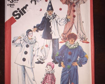 Simplicity Sewing Pattern 5740 Boys and Girls OR Adults Clown Costume Kids Size 10-12 Adult Size 32-34
