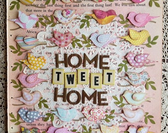 Home Tweet Home Mixed Media Paper Collage with Birds, Pink, Yellow, Tan