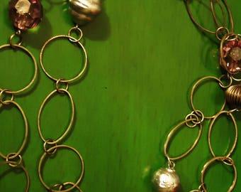 Vintage 1980s Boho Silver Slinky Bead Necklace