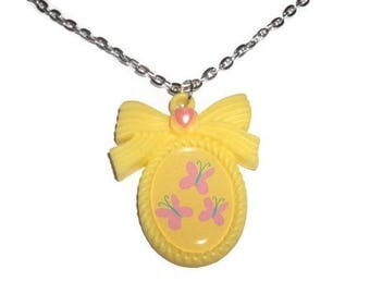 Fluttershy Cutie Mark Necklace, Friendship is Magic, Kawaii Cameo Necklace