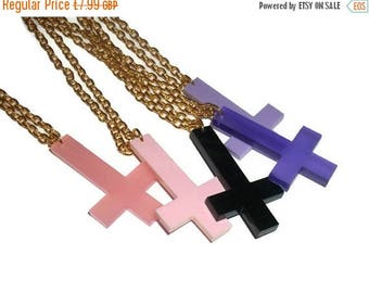 Inverted Cross Necklace, Choose Black, Purple or Pink Laser Cut Pendant, Kawaii Pastel Goth