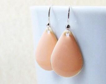 40% OFF Dangle Drop Earrings - Pastel Peach Epoxy Enamel Teardrops - Sterling Silver Plated over Brass