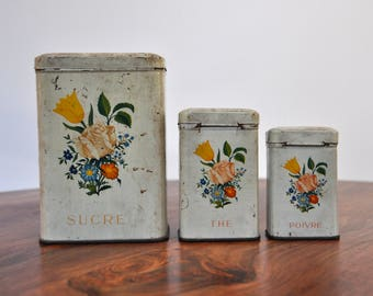 Set of Vintage  French Kitchen Canisters - Floral Sugar Tea Pepper