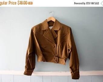 ON SALE Vintage cropped jacket /Military style khaki bolero / Size medium to large