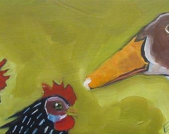 Chicken, Chicken, Goose Original Oil Painting