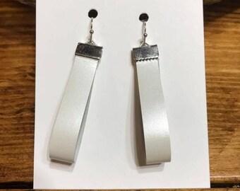 White Leather Teardrop Hoop Earrings